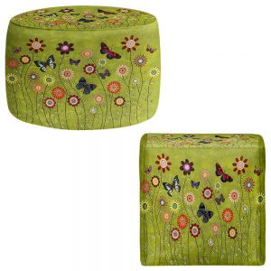 Round and Square Ottoman Foot Stools | Sascalia - Bohemian Butterflies