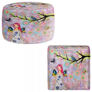 Round and Square Ottoman Foot Stools | Sascalia - Butterfly Fairy
