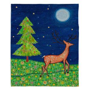 Decorative Fleece Throw Blankets | Sascalia - Christmas Scene | Christmas Tree Holidays Raindeer Animals Nature