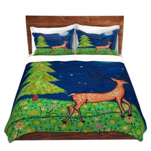 Artistic Duvet Covers and Shams Bedding | Sascalia - Christmas Scene | Christmas Tree Holidays Raindeer Animals Nature
