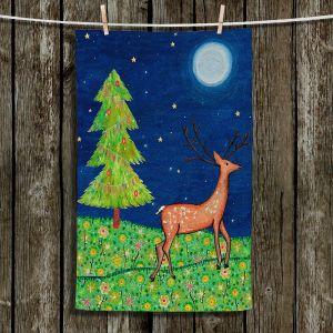 Unique Hanging Tea Towels | Sascalia - Christmas Scene | Christmas Tree Holidays Raindeer Animals Nature