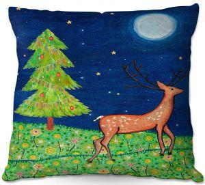 Throw Pillows Decorative Artistic   Sascalia - Christmas Scene   Christmas Tree Holidays Raindeer Animals Nature