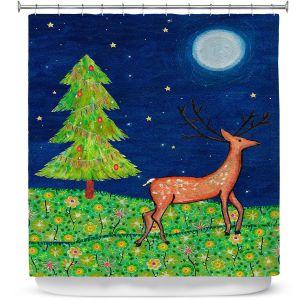 Premium Shower Curtains | Sascalia - Christmas Scene | Christmas Tree Holidays Raindeer Animals Nature