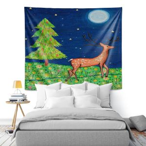 Artistic Wall Tapestry | Sascalia - Christmas Scene | Christmas Tree Holidays Raindeer Animals Nature