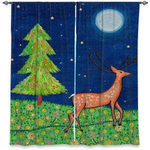 Decorative Window Treatments | Sascalia - Christmas Scene | Christmas Tree Holidays Raindeer Animals Nature