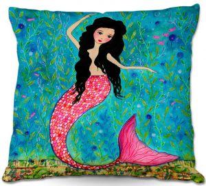 Throw Pillows Decorative Artistic   Sascalia Dancing Mermaid