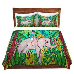 Artistic Duvet Covers and Shams Bedding | Sascalia - Elephant Boy | Child Elephant Animals Jungle
