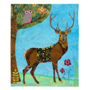 Artistic Sherpa Pile Blankets | Sascalia Forest Stag And Owl