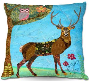Decorative Outdoor Patio Pillow Cushion | Sascalia - Forest Stag And Owl