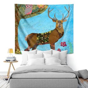 Artistic Wall Tapestry | Sascalia Forest Stag And Owl
