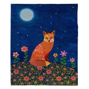 Decorative Fleece Throw Blankets | Sascalia - Fox on Hill | Fox Animals Flowers Childlike