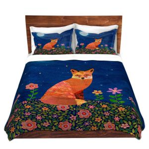 Artistic Duvet Covers and Shams Bedding | Sascalia - Fox on Hill | Fox Animals Flowers Childlike