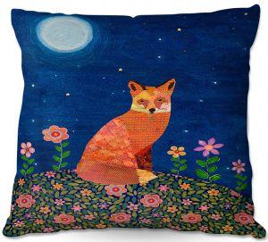 Throw Pillows Decorative Artistic | Sascalia - Fox on Hill | Fox Animals Flowers Childlike