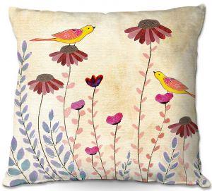 Throw Pillows Decorative Artistic | Sascalia - Good Morning | Birds Flowers Animals