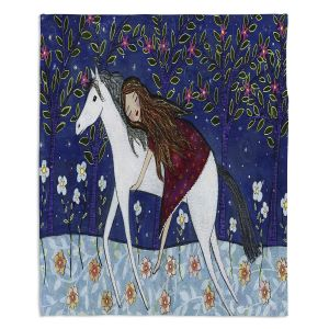 Decorative Fleece Throw Blankets | Sascalia - Horse Dreamer