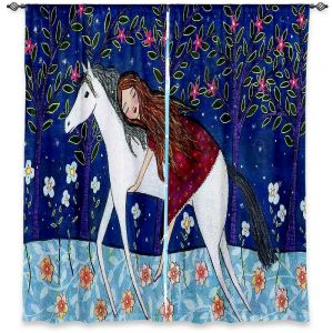 Unique Window Curtains Lined 40w x 52h from DiaNoche Designs by Sascalia - Horse Dreamer