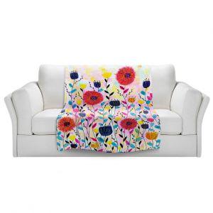 Artistic Sherpa Pile Blankets | Sascalia - Joyful | Flowers Nature Garden