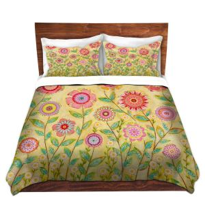 Artistic Duvet Covers and Shams Bedding | Sascalia - July Flowers Butterfly