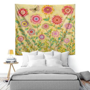 Artistic Wall Tapestry   Sascalia July Flowers Butterfly