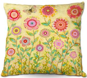 Throw Pillows Decorative Artistic | Sascalia's July Flowers Butterfly