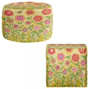 Round and Square Ottoman Foot Stools | Sascalia - July Flowers Butterfly