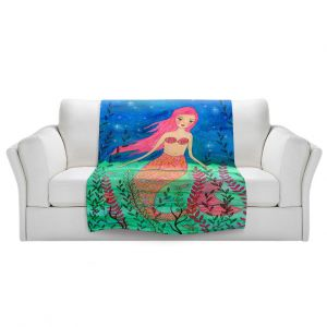 Artistic Sherpa Pile Blankets   Sascalia - June Mermaid   Childlike Mermaid Fantasy