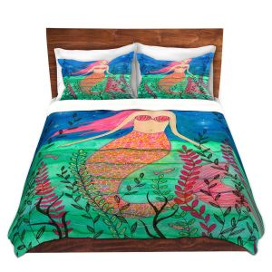 Artistic Duvet Covers and Shams Bedding | Sascalia - June Mermaid | Childlike Mermaid Fantasy