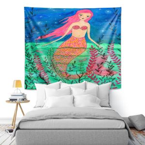 Artistic Wall Tapestry | Sascalia - June Mermaid | Childlike Mermaid Fantasy