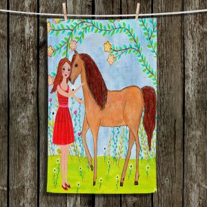 Unique Hanging Tea Towels | Sascalia - Kindred Spirits | Horses Animals Lady Nature