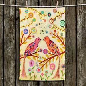 Unique Hanging Tea Towels | Sascalia - Love Birds | Trees Flowers Inspiring