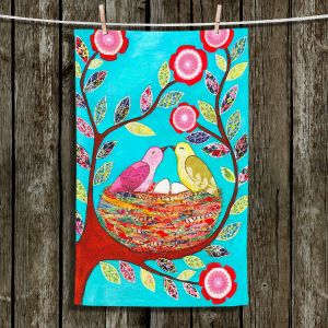 Unique Hanging Tea Towels | Sascalia - Love Nest | Birds Trees Flowers