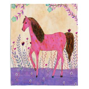Decorative Fleece Throw Blankets | Sascalia - Meadow Horse | Horse Animals