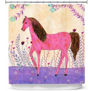 Premium Shower Curtains | Sascalia - Meadow Horse | Horse Animals