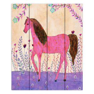Decorative Wood Plank Wall Art | Sascalia - Meadow Horse | Horse Animals