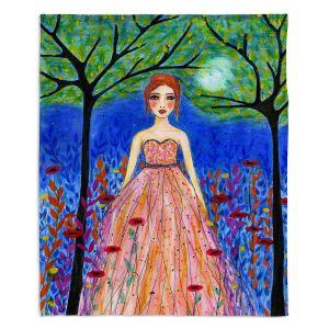 Artistic Sherpa Pile Blankets | Sascalia - Moonlit Night | Portrait gown dress figure woman
