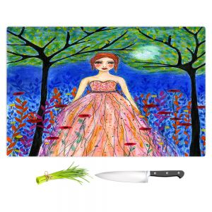 Artistic Kitchen Bar Cutting Boards | Sascalia - Moonlit Night | Portrait gown dress figure woman