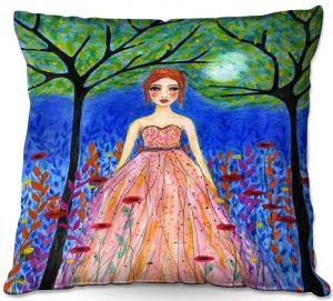 Throw Pillows Decorative Artistic | Sascalia - Moonlit Night | Portrait gown dress figure woman