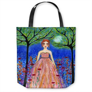 Unique Shoulder Bag Tote Bags | Sascalia - Moonlit Night | Portrait gown dress figure woman