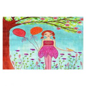 Decorative Floor Covering Mats | Sascalia - Oh Happy Day | Portrait girl figure balloon tree