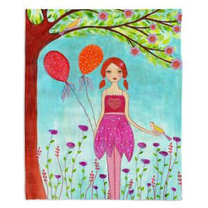 Artistic Sherpa Pile Blankets | Sascalia - Oh Happy Day | Portrait girl figure balloon tree