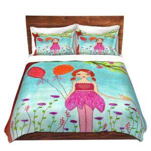 Artistic Duvet Covers and Shams Bedding | Sascalia - Oh Happy Day | Portrait girl figure balloon tree