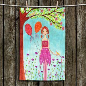 Unique Hanging Tea Towels | Sascalia - Oh Happy Day | Portrait girl figure balloon tree