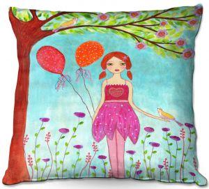 Throw Pillows Decorative Artistic | Sascalia - Oh Happy Day | Portrait girl figure balloon tree