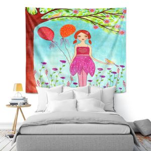 Artistic Wall Tapestry | Sascalia - Oh Happy Day | Portrait girl figure balloon tree