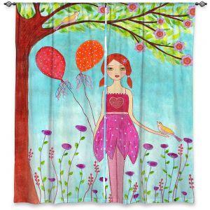 Decorative Window Treatments | Sascalia - Oh Happy Day | Portrait girl figure balloon tree