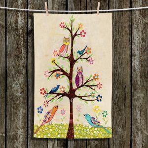 Unique Hanging Tea Towels | Sascalia - Owl Bird Tree II | Owl Trees Birds
