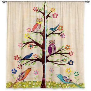 Unique Window Curtains Unlined 40w x 61h from DiaNoche Designs by Sascalia - Owl Bird Tree II