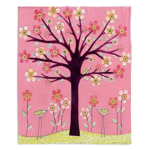 Artistic Sherpa Pile Blankets | Sascalia Pink Bird Tree