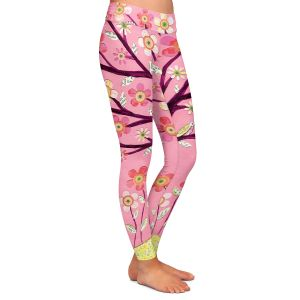 Casual Comfortable Leggings | Sascalia Pink Bird Tree