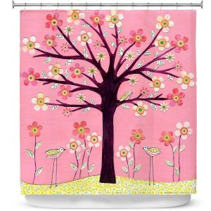 Unique Shower Curtains 71w x 74h Inches from DiaNoche Designs by Sascalia  - Pink Bird Tree
